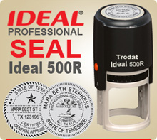 Ideal 500R Professional Rubber Stamp Seal. This Professional Seal is 2 inch in diameter, used most often for State Seals that require 1-3/4 inch impression. Ideal 500R Rubber Stamp Seals are Self Inking.