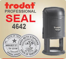 Trodat 4642 Professional Stamp Seal. This Professional Stamp is 1-5/8 inch in diameter. If order is placed by 4 pm Central we usually ship the next day.