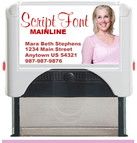 Custom Self Inking Personalized Rubber Stamper designed to be a closing gift for Your Company's Real Estate Agents. Script Font. Order by 4 PM. Ships next day.
