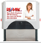 Custom Self Inking Rubber Stamper designed to be a closing gift for Remax Realty Agents. Order Stamper by 4 PM. We ship next day.
