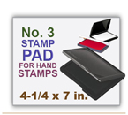 Inked Rubber Stamp Pad No 3 size for Handle Rubber Stamps. Has a heavy duty felt pad. 4-1/4 x 7 in.