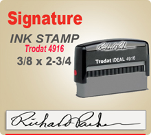 Trodat 4916 Ink Signature Stamp. Size of imprint is 3/8 x 2-3/4 inches. This Trodat 4916 Ink Signature Stamp makes a nice size Signature Stamper