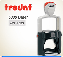 Trodat 5030 Professional Phrase Dater With Steel Frame and a composite outer skin. This nice heavy Duty Dater is available to ship next day usually if in by 4 PM Central.