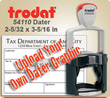 Trodat 54110 Professional Dater For Graphic Upload. This Item Code is for Uploading your own complete dater Graphic File. This Dater usually ships next day if ordered by 4 PM Central.
