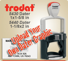 Trodat 5430 or 5440 Professional Dater For Graphic Upload. This Item Code is for Uploading your own complete dater Graphic File. This Dater is available to ship next day usually, if in by 4 PM Central.