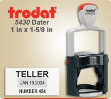 Trodat 5430 Professional Dater With Steel Frame. This Dater usually ships next day if ordered by 4 PM Central.
