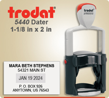 Trodat 5440 Professional Dater With Steel Core. This Dater is available to ship next day usually, if in by 4 PM Central.