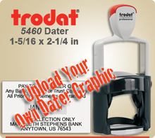 Trodat 5460 Professional Dater For Graphic Upload. This Item Code is for Uploading your own complete dater Graphic File. We ship this dater next day after order usually if in by 4 PM Central.