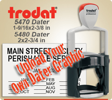 Trodat 5470 or 5480 Professional Dater For Graphic Upload. This Item Code is for Uploading your own complete dater Graphic File. This Dater is available to ship next day usually, if in by 4 PM Central.