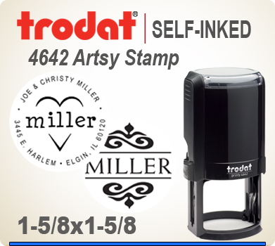 Get your customized and creative Artsy Trodat 4642 Address Art Stamper at this web site. Choose a look that you like, enter address city state zip. PIck a desired ink and we'll get your Ink Stamp out right away.
