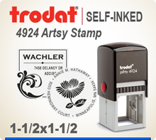 Get your customized and creative Trodat Artsy 4924 Address Art Stamper at this web site. Choose a look that you like, enter address city state zip. PIck a desired ink and we'll get your Ink Stamp out right away.