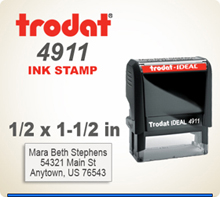 Order this Trodat Printy 4911 Rubber Stamp Self Inking. The imprint area is 1/2 inch by 1-1/2 inches. Enter your data today by 4 pm central and we ship in 1 day.
