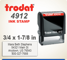 Order a Trodat Printy 4912 Self Ink Rubber Stamper today. The platen printing space is 3/4 inch by 1-7/8 inches. Customize this stamp now by 4 pm central time and it will ship tomorrow.