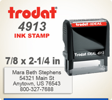 Trodat Printy 4913 Rubber Stamper Self Inked. Order today. The die print area is 7/8 inch by 2-3/8 inches. Buy it now or by 4 pm central and we'll get it on the way in 1 day.