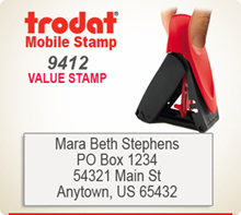Trodat 9412 Mobile Value Stamp Style 101. This Personalized Trodat Mobile 9412 Self Inking Stamp displayed here has a 3/4 x 1-7/8 inch imprint area.