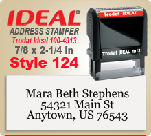 Order a custom Trodat Ideal 100 4913 Style 132 Rubber Address Ink Stamp here online. Ships in 24 hours if ordered by 4pm Central time.