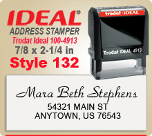 Order online your custom Trodat Ideal 100 4913 Style 132 Rubber Address Stamp here today. Ships next day if ordered by 4pm Central.