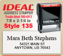 Buy Online. Custom Self Inked Style 135 Trodat Ideal 100 4913 Rubber Address Stamp. Ink stamps ship next day.