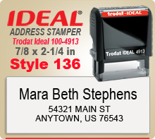 Order and design online your custom Trodat Ideal 100 4913 Style 136 Rubber Address Ink Stamp. Ships in 1 day if in by 4 pm.
