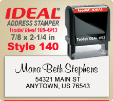 Neat layout Style 140 Trodat Ideal 100 4913 Rubber Address Ink Stamp. Ships in one day if in by 4 PM central.