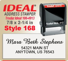 Design 168 Trodat Ideal 100 4913 Rubber Address Stamp. Order Online. Design Online. Your order ships in 1 day if ordered by 4 pm Central time.