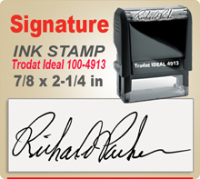 Trodat Ideal 100 4913 Ink Signature Stamp. Size of imprint is 7/8 x 2-1/4 inches. This Trodat Ideal 100 4913 Ink Signature Stamp makes a nice size Signature Stamper
