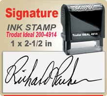 Trodat Ideal 200 4914 Ink Signature Stamp. Size of imprint is 1 x 2-1/2 inches. This Trodat Ideal 100 4914 Ink Signature Stamp makes a nice size Signature Stamper