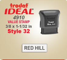Trodat Ideal 4910 Value Stamp 32. This Personalized Trodat Ideal 50 4911 Self Inking Stamp displayed here has a 3/8 x 1-1/32 inch imprint area.