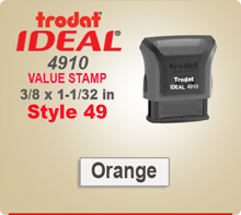 Trodat Ideal 4910 Value Stamp 49. This Personalized Trodat Ideal 50 4911 Self Inking Stamp displayed here has a 3/8 x 1-1/32 inch imprint area.