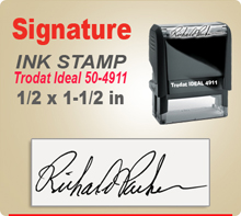 Trodat Ideal 50 4911 Ink Signature Stamp. Size of imprint is 1/2 x 1-1/2 inches. This Trodat Ideal 50 4911 Ink Signature Stamp makes a nice size smaller Signature Stamper.