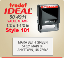 Trodat Ideal 50 4911 Value Stamp 101. This Personalized Trodat Ideal 50 4911 Self Inking Stamp displayed here has a 1/2 x 1-1/2 inch imprint area.