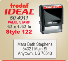 Trodat Ideal 50 4911 Value Stamp 122. This Personalized Trodat Ideal 50 4911 Self Inking Stamp displayed here has a 1/2 x 1-1/2 inch imprint area.