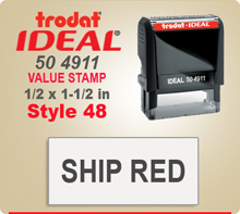 Trodat Ideal 50 4911 Value Stamp 48. This Personalized Trodat Ideal 50 4911 Self Inking Stamp displayed here has a 1/2 x 1-1/2 inch imprint area.