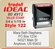 Trodat Ideal 80 4912 Value Stamp 122. This Personalized Trodat Ideal 80 4912 Self Inking Stamp displayed here has a 3/4 x 1-7/8 inch imprint area.