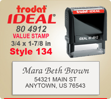 Trodat Ideal 80 4912 Value Stamp 134. This Personalized Trodat Ideal 80 4912 Self Inking Stamp displayed here has a 3/4 x 1-7/8 inch imprint area.