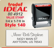 Trodat Ideal 80 4912 Value Stamp 140. This Personalized Trodat Ideal 80 4912 Self Inking Stamp displayed here has a 3/4 x 1-7/8 inch imprint area.