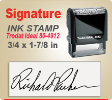 Trodat Ideal 80 4912 Ink Signature Stamp. Size of imprint is 3/4 x 1-7/8 inches. This Trodat Ideal 80 4912 Ink Signature Stamp makes a nice meduim Signature Stamper