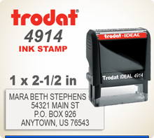 Trodat Ideal 200 4914 Self Inking Rubber Stamp. The impression space is 1 inch by 2-1/2 inches.