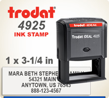 Order online Trodat Printy 4925 Large Inked Rubber Ink Stamper. This stamp is 1 inch by 3-1/4 inches. If you get your order on by 4 pm central it's on the way tomorrow.