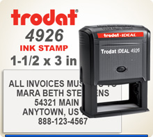 Trodat Printy 4926 Ideal 300 size Rubber Stamper. Copy space is a 1-1/2 inches by 3 inches rectangle. The Ideal 300 size Printy ships in 24 hours if order is in by 4 pm central.