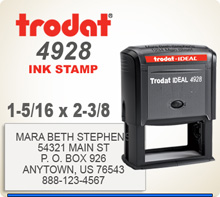Trodat Printy 4928 Personalized Rubber Ink Stamp. Has a 1-1/4 inches by 2-3/8 inches personalization space. This item ships in 1 day if ordered by 4 pm central.