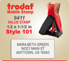 Trodat 9411 Mobile Value Stamp Style 101. This Personalized Trodat 9411 Mobile Self Inking Stamp displayed here has a 1/2 x 1-1/2 inch imprint area.