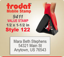 Trodat 9411 Mobile Value Stamp 122. This Personalized Trodat 9411 Mobile Self Inking Stamp displayed here has a 1/2 x 1-1/2 inch imprint area.