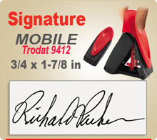 Trodat Mobile 9412 Signature Rubber Ink Stamp. 3/4 x 1-7/8 inch print area. This Trodat 9412 ink stamp makes a nice size Signature Stamper