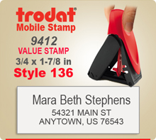 Trodat 9412 Mobile Value Stamp Style 136. This Personalized Trodat Mobile 9412 Self Inking Stamp displayed here has a 3/4 x 1-7/8 inch imprint area.