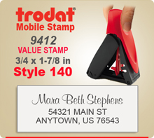 Trodat 9412 Mobile Value Stamp Style 140. This Personalized Trodat Mobile 9412 Self Inking Stamp displayed here has a 3/4 x 1-7/8 inch imprint area