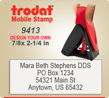 "Trodat 9413 Mobile Self Inked Rubber Stamp. The Trodat 9413 Mobile Printy is designed for easy, one hand operation. A simple ""pinch"" of the tip opens it."