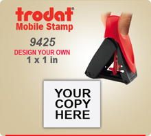 Trodat 9425 Mobile Self Inked Stamp. The Trodat 9425 Mobile Printy is designed for easy, one hand operation.