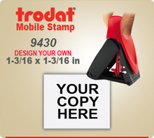 Trodat 9430 Mobile Self Inked Stamp. The Trodat 9430 Mobile Printy is designed for easy, one hand operation.