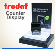 Counter display for selling Self Inking Trodat Ideal Rubber Stamps. Become a Reseller of our Rubber Stamps. Contact us.